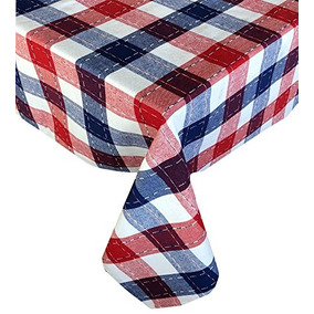 Lintex Americana Patriotic Plaid Cotton Weave Fabric Tablecl