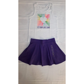 Conj Blusa Y Falda C/shorts Nina Talla 7/8 Nuevo Tc Place