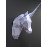 Papercraft Escultura De Parede Cabeça Unicórnio C Vídeo