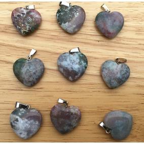 Ágata India Piedra Natural Corazón Dije Unisex Tamaño 20mm