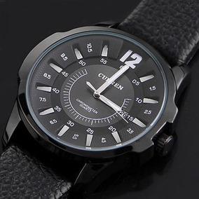 Relógio Social Casual Masculino Curren 8123 Couro Preto