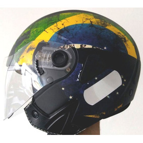 Capacete Aberto Kraft Jet - Bandeira Brasil