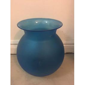 Jarrón Vidrio Opalino Azul
