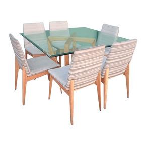 Mesa De Jantar Quadrada 6 Cadeiras Tampo Vidro 12mm