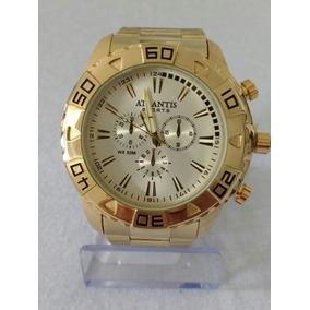 Relógio Masculino Aço Dourado Atlantis Original Cores+caixa