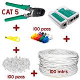 Bobina Cable Utp Cat 5e 100m+100 Rj45+tester+pinzas+100 Bota