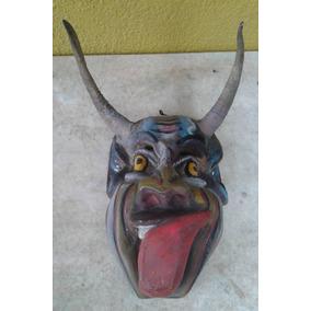 Mascara Antigua Diablo Madera Tallada