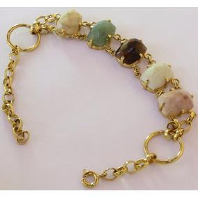 Pulseira Folheada A Ouro 18k Pedras Naturais N1989