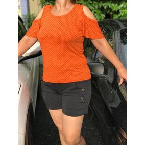 Blusa Roupas Feminina Plus Size Grande Poa Ombro Vazado