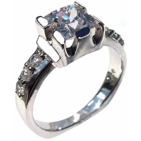 Impresionante Anillo Compromiso Diamante Princess 6mm Ag 925