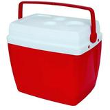Caixa Térmica Cooler Na Cor Vermelha Com Alça 26 Litros Mor