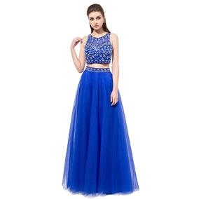 Vestidos Fiesta Crop Top Falda Naranjo Azul Talla 6 Ep 302