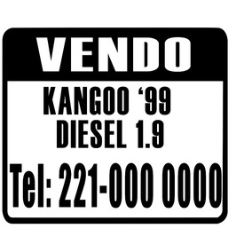 Cartel Vendo Auto Sticker Calco Vinilo - Combo X 3