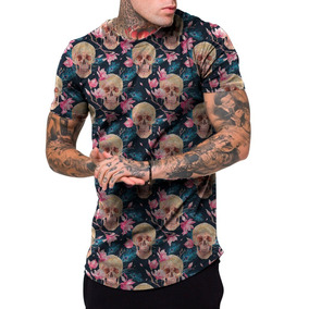 Camiseta Camisa Masculina Longline Floral Florido Skull Swag 2c93b13226539