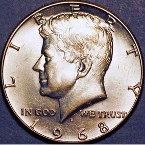 Moneda Medio Dolar 1968 D De Plata En Estado Sin Circular