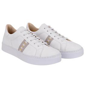 b05713de1cb Tenis Feminino Branco Couro Combina Vestidos E Vários Looks