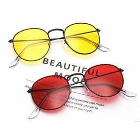 0f90e1204ba17 Óculos De Sol Vermelho Redondo Lente Espelhada Uv 400 - Óculos no ...