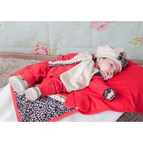 Saída De Maternidade Bebê Menina Oncinha - Vermelha