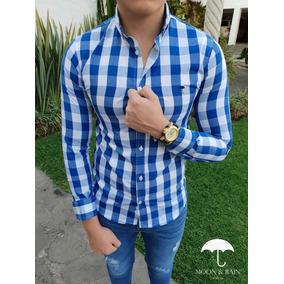 Camisa Slim Fit Cuadros Azul Rey, Blancos Moon & Rain
