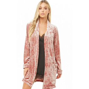 Bata De Terciopelo Velvet Rosa Pijama Forever 21 Moda