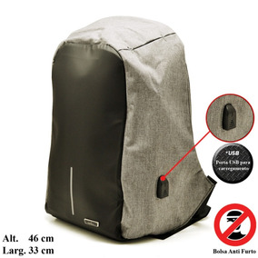 Mochila De Costas Anti Furto Reforçada Entrada Usb Laptop