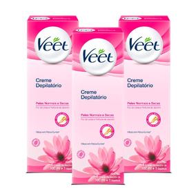 Kit Veet Creme Depliatório Peles Normais E Secas - 3 Unid