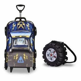 Mochila Escolar Masculina Pickup Azul 3d Com Lancheira