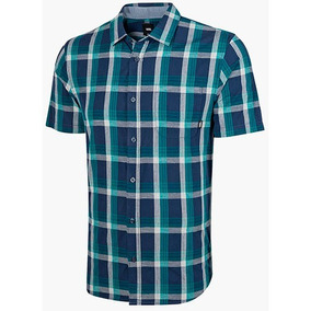Camisa Cuadro Hombre Vans Vn-0a3w3llkz Marino Manga Corta T3
