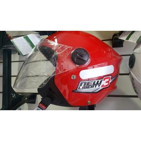Capacete Moto New Liberty 3 Aberto Protork Rosa Branco Azul