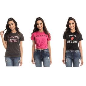 Kit 3 T-shirts Bordadas Estonadas Feminina Roupas Atacado