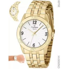 Relógio Feminino Dourado Champion 1ano De Garantia Top