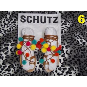 Sandália Schutz (rasteirinha Colorida Com Pompons) - Tam. 38