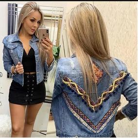 Jaqueta Jeans Casaco Feminino Bordado Em V Outono Inverno