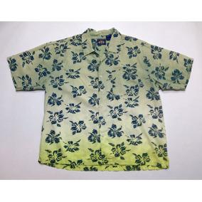Camisa Hawaiana Tropical Floreada Lino Surf Talle L 586