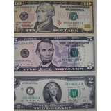 Estados Unidos 4 Notas De 1, 2, 5 E 10 Dólares Americanos