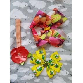 Paquete De 3 Accesorios Moños Y Banditas Cabello Macarons