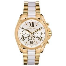 3b7647cb12e Relógio Michael Kors Emborrachado Branco Com Dourado Mk 5146 ...