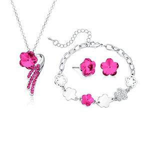 Conjunto De Joyas Majesto - Collar Rosa Pulsera Colgante Are