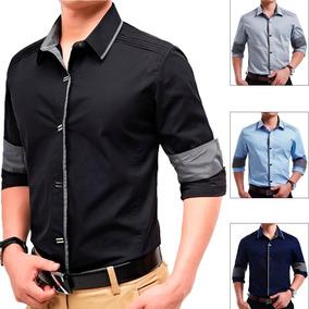 Blusa Social Masculina Manga Comprida Camisa Casual Slim Fit