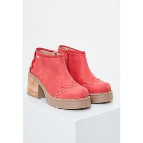 Zapatos De Mujer Con Taco Heyas Polka 9 Cuero Rojo b5d0ddda9a37