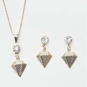 Conjunto Brincos E Gargantilha De Ouro E Diamantes - Joias e ... a1653ea394