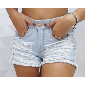 Short Jeans Escuro Detonado Cós Alto Hot Pant Roupa Feminina