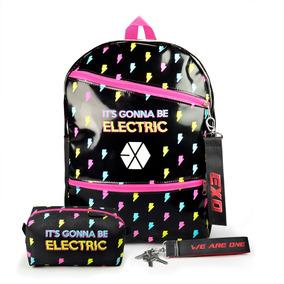 Mochila Escolar Kpop + Estojo + Chaveiro Exo Electric Kiss
