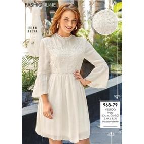 Vestido Con Crochet Para Dama Ivory 968-79 Cklass Cfd