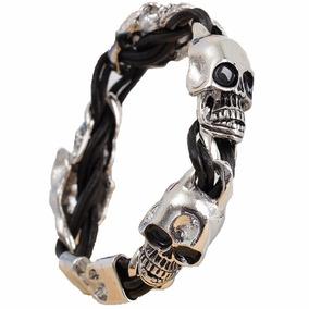 1 Pulsera-piel Acero-skull-punk-rock-metal-calavera-craneo