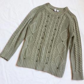 2x1 Sweater Mujer Verde Olivo Tejido Punto Trenzado Tachas 2cc1379bafdd