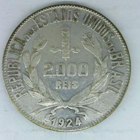 Moeda Brasil 2000 Réis 1924 República Estados Unidos Km#526