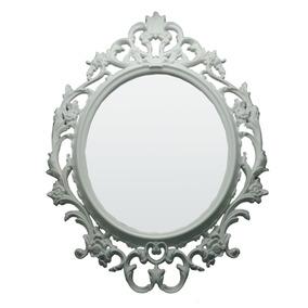 Espelho Branco Decorativo Sala Parede Elegante 57x82x3cm