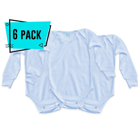 6pack Pañalero Azul Talla 12 Manga Larga Ropa Bebe Mayoreo