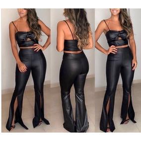 Conjunto Cropped Blusa Calça Blogueira Feminino #cj24 Festa